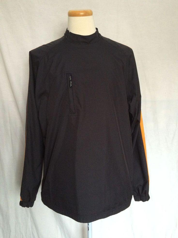 Oakley Software Windbreaker Rain Jacket Sz XL Black Skulls Orange Trim Sleeves #Oakley #Windbreaker