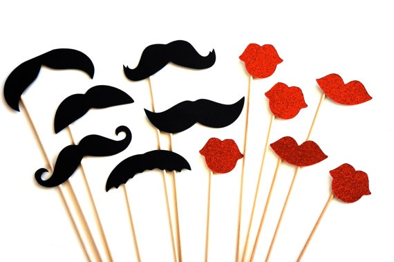 Photo Booth Props - Mustaches and Glitter Lips - 12 piece set - Ruby Red GLITTER Lips - Birthdays, Weddings, Parties - Photobooth Props. $18.00, via Etsy.