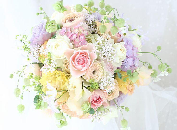 ブーケ 春の淡い色で : 一会 ウエディングの花