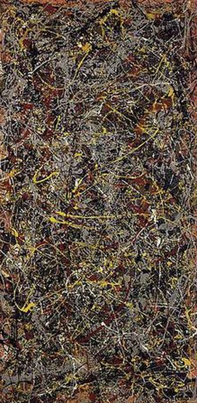 Painting by Jackson Pollock, No. 5, 1948, oil on fiberboard.