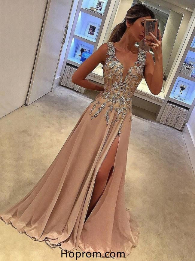 98dd400c83 Tank Straps Slit Applique Prom Gown Dresses in 2019