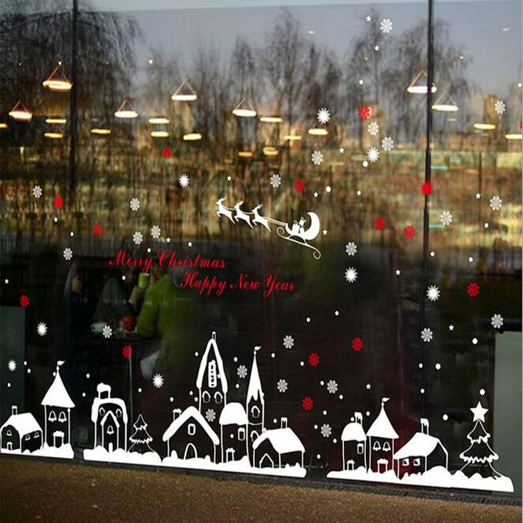 The new shop window stickers decorated Christmas Christmas stickers glass christmas snowflake town removable window