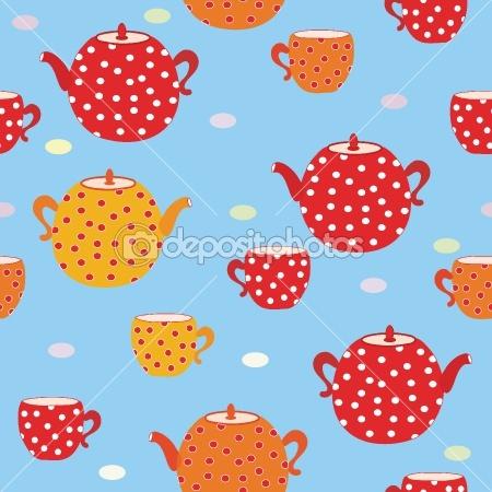 Seamless tea  pattern with teapot — Stock Vector #2786583