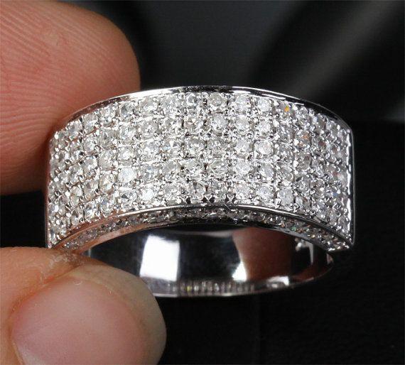 1.35ct Diamonds14KT White Gold Pave Wedding Band Women Mens Engagement Ring