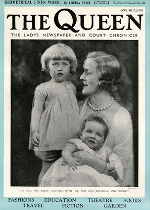 Mrs Bryan Guinness, aka Diana Mitford, later Mosley, pictured with her two eldest sons, Jonathan and Desmond on the front cover of The Queen magazine. Diana Mitford was one of the six infamous sisters, daughters of Lord and Lady Redesdale. She married into the wealthy Guinness family at the age of 19 in 1929, but began a love affair with Sir Oswald Moseley, leader of the British Union of Fascists ('Blackshirts')in the 1930's.