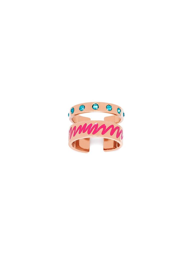 Maria Francesca Pepe Midi ring with enameled scribble encrusted swarovski Shop now>https://www.mariafrancescapepe.com/showplarge.aspx?prodid=811&catid=47&utm_source=Social&utm_medium=Pinterest&utm_campaign=Fw14_midiring_%20enameledscribble%20