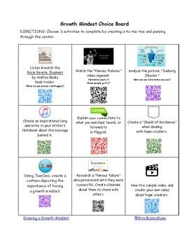 """In preparing for my online summer institutes at Molloy College, I'd like to share a """"Growth Mindset Choice Board"""" utilizing QR Codes. I created this one for the """"Tech Savvy Teacher of Today!"""" class. I decided to combine the importance of growth mindset, technology, and the power of student choice."""