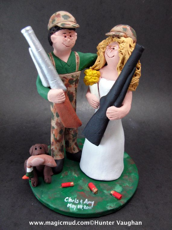 Redneck Wedding Cake Topper    Redneck's Wedding Cake Topper custom created for you! Perfect for marriage of a Redneck Hunting Groom and his Bride!    $235   #magicmud   1 800 231 9814   www.magicmud.com