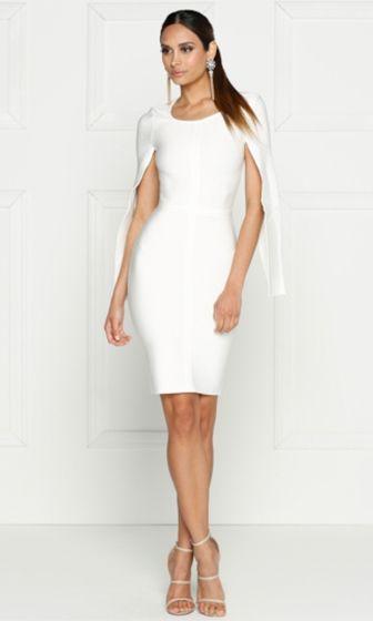 Midnight Scandal White Long Slit Sleeve Scoop Neck Bandage Bodycon Cape Midi Dress