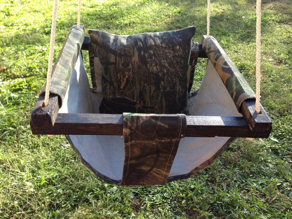 High Quality Cloth Mossy Oak Baby Swing with Pillow (Available in several different prints/colors.) on Etsy, $58.00