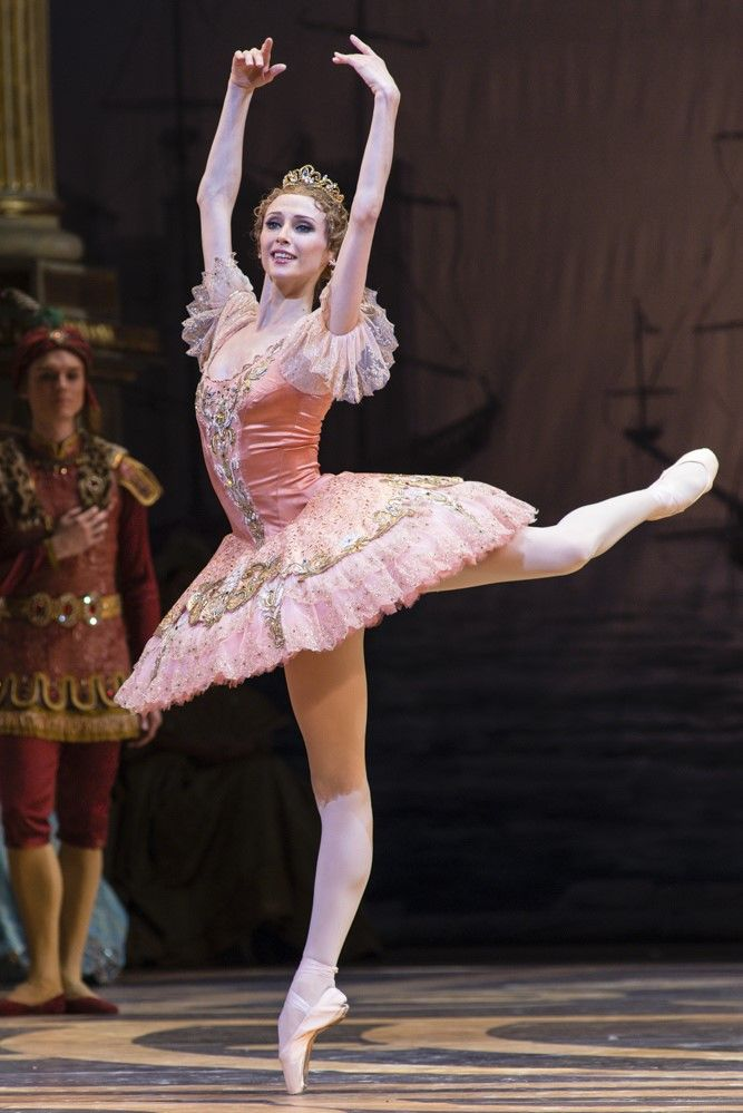 Svetlana Zakharova as Princess Aurora. The Bolshoi Ballet in The Sleeping Beauty. Royal Opera House, 2013. Photo Foteini Christofilopoulou. Zakharova was bred for the role of Aurora, her superb control of balance with exquisite line, especially in arabesque, and the delicate radiance of her port de bras are ideally suited to the extreme test posed by the Rose Adage, which she accomplished with confident, elegant authority. Zakharova convinced us to believe in a young princess half her age.