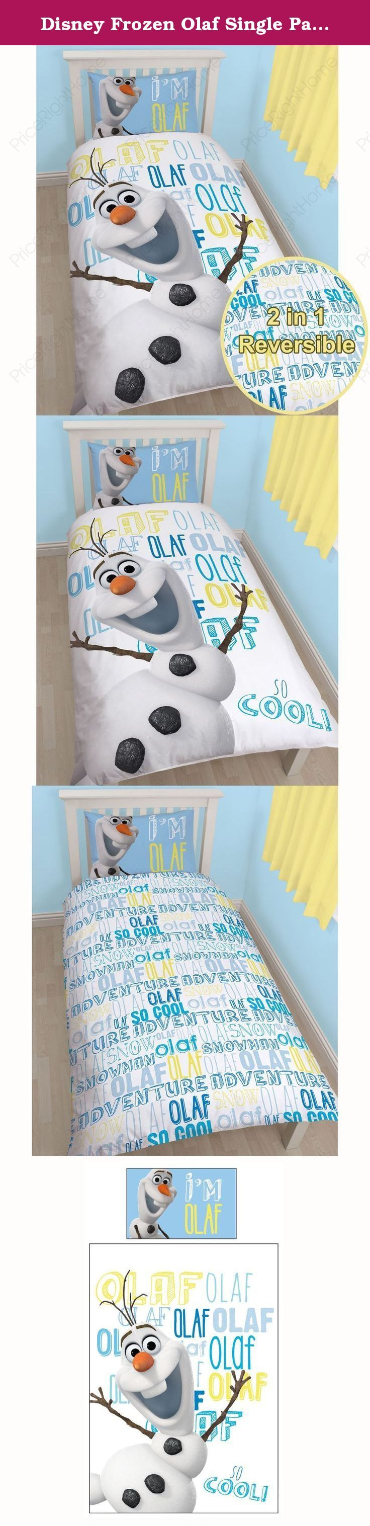 Disney Frozen Olaf Single Panel Duvet Cover and Pillowcase Set. This official bedding set is the latest offering from the ever popular Disney Frozen. The duvet cover design features a great image of the hilarious Olaf with his name written in different fonts in shades of blue and yellow. This item can be machine washed and tumble dried on a cool setting.Please note: Comforter and pillow not included.