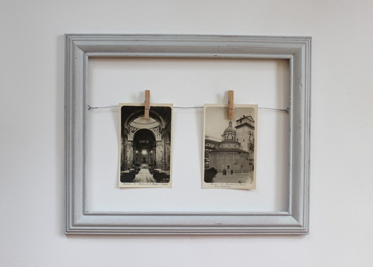 gray rustic wooden frame // clothespin picture frame // open wooden frame. $21.50, via Etsy.