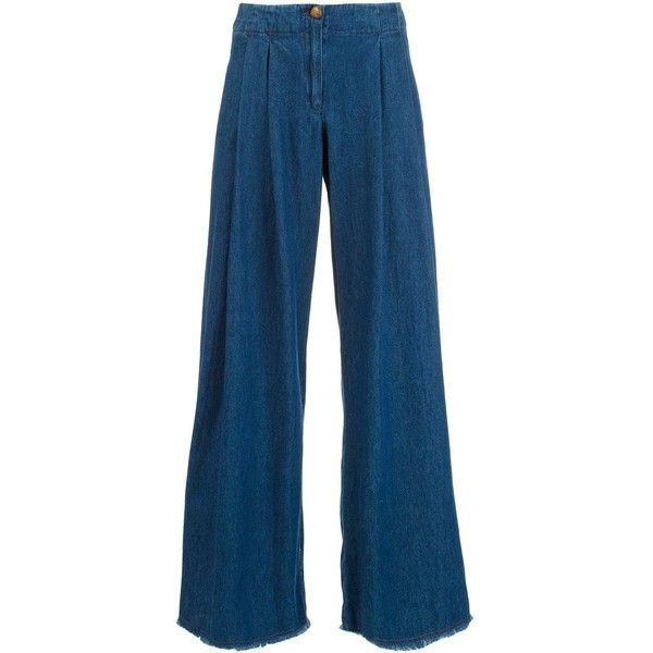 Raquel Allegra palazzo pants ($425) ❤ liked on Polyvore featuring pants, blue, raquel allegra pants, blue cotton pants, palazzo trousers, cotton palazzo pants and cotton pants