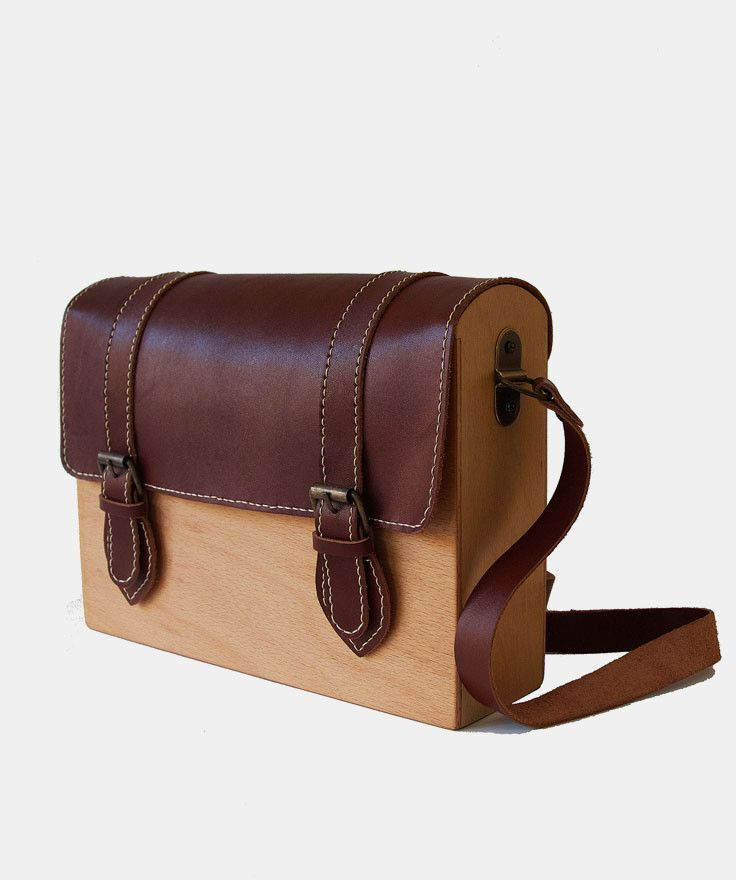 Wooden satchel w/leather flap, handmade by Merve Burma of @gravgrav in Istanbul.