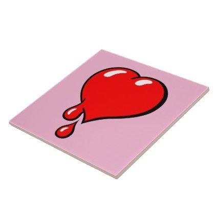 Red Bleeding Heart liberal op pink Tile  $16.85  by ejkaal  - custom gift idea
