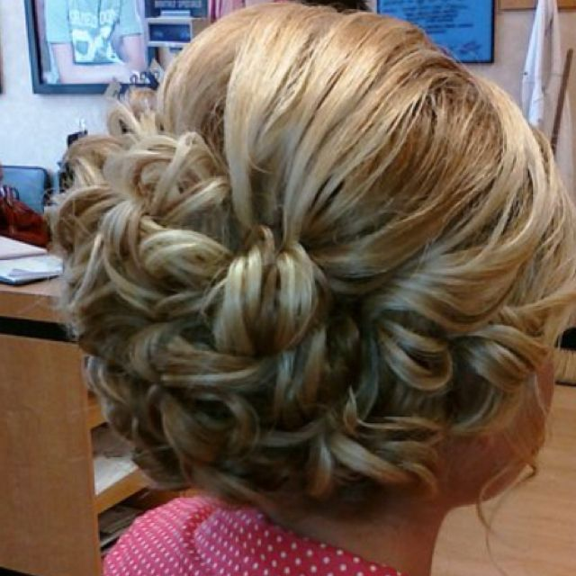 Pinned in curls updo Formal style Prom style  ****BY ERECKA MADER at HOLLYWOOD HAIR in new Boston Ohio. **** do not delete this part of description.