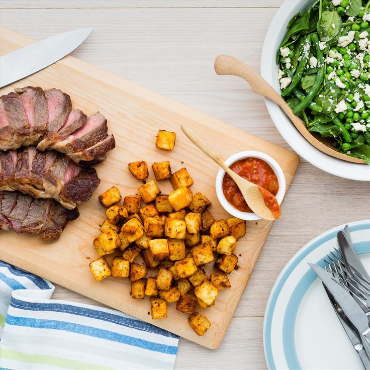 Steak and Crispy Potatoes with Pea and Asparagus Salad