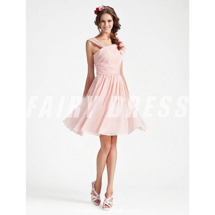 Femme robe de cocktail rose col asymmétrique en mousseline Modèle: PHBG1260  Disponibilité : En stock €62,65