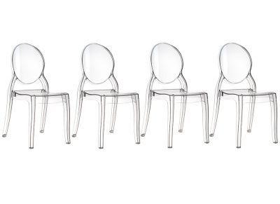 Lot de 4 chaises design médaillon transparente intérieur / extérieur LOUISON -