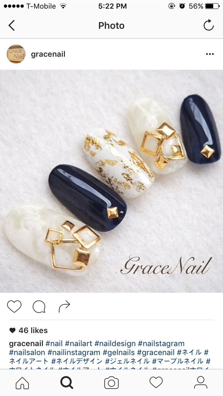 navy white gold nail art