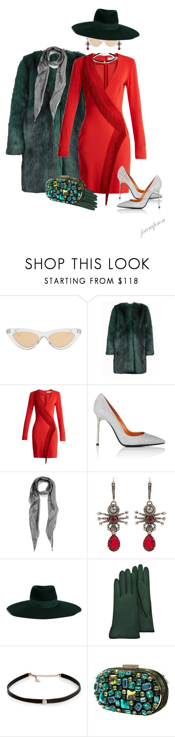 """""""Red & Green #1"""" by shadedlady ❤ liked on Polyvore featuring Le Specs Luxe, Dries Van Noten, Galvan, Walter De Silva, Yves Saint Laurent, Alexander McQueen, Maison Michel, Forzieri, Carbon & Hyde and Nissa Jewelry"""