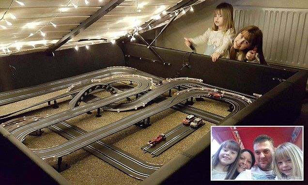 Dad turned bed into Formula 1 Scalextric track while wife out shopping