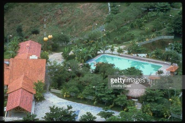 Aerial of lush estate of Pablo Escobar Gaviria, ldr. of drug cartel, known as Hacienda Napoles.