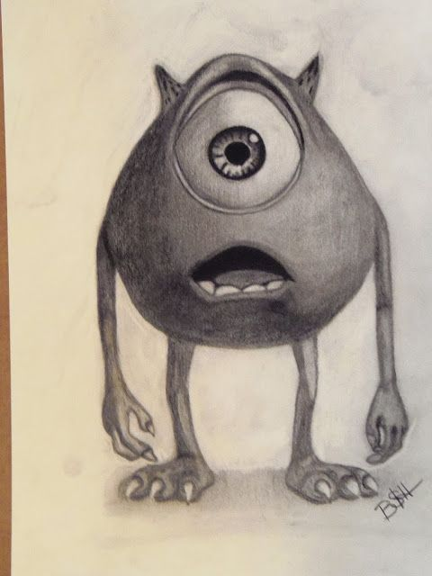 Charcoal Drawing of Mike of Monsters Inc.