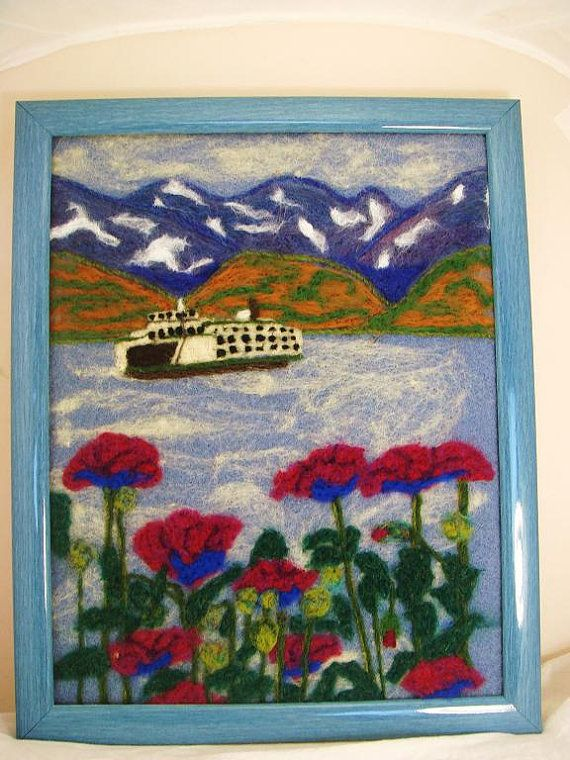 Needle felted art flowers with ferry by FeltedFantasies on Etsy, $145.00