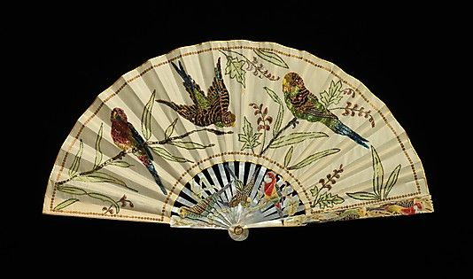 Fan  Date: ca. 1920 Culture: French Medium: mother-of-pearl, silk Dimensions: 9 5/8 in. (24.4 cm) Credit Line: Brooklyn Museum Costume Collection at The Metropolitan Museum of Art,