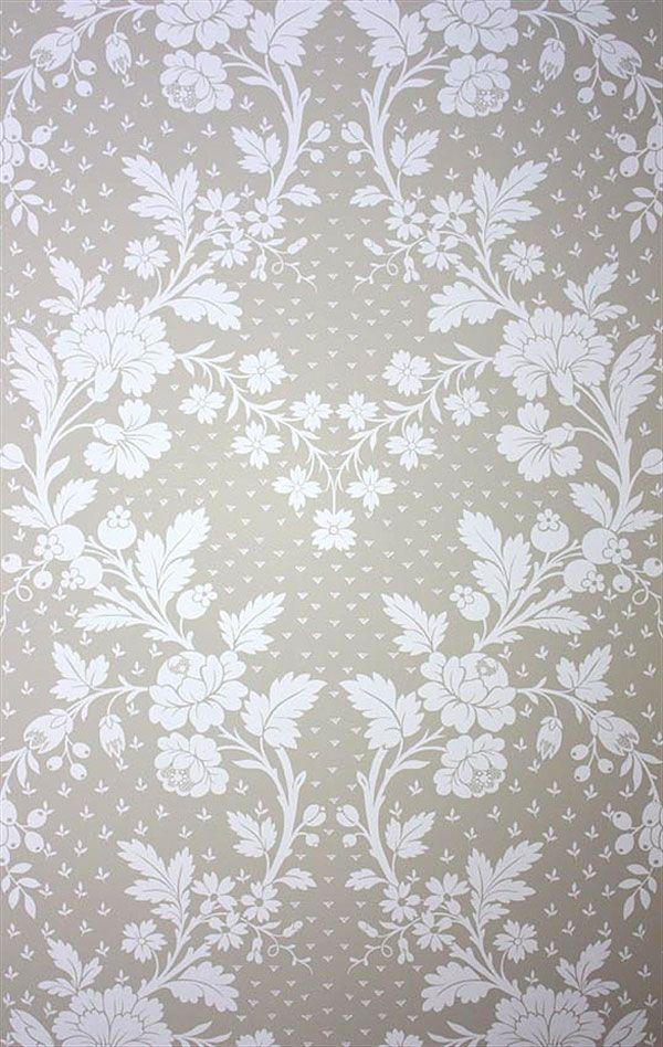 Englische Tapete Blumen braun schlamm weiss Pavillon Louisiane Wallpapers Lorca online kaufen