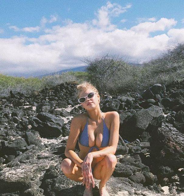 Charlotte McKinney wearing the Faithfull The Brand Christy Top and Luna Bottom