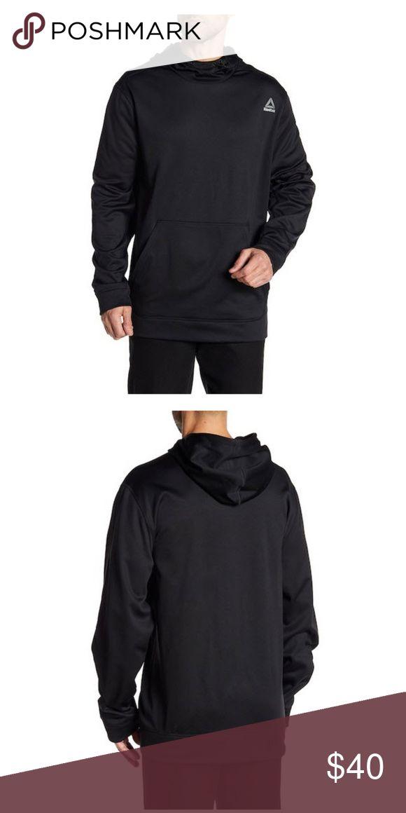 Reebok Workout Ready Fleece Men's XXL Black Details     - Attached hood with drawstring     - Long sleeves      - Slips on over head     - Kangaroo pocket     - Knit construction     - Fleece lined  Fiber Content     100% polyester Care     Machine wash Reebok Shirts Sweatshirts & Hoodies