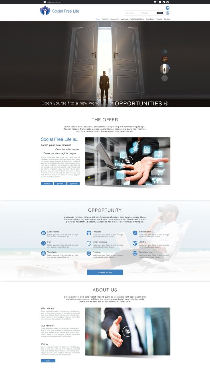 Social Free Life - Onepage pt. 1 : Project Manager - Web Designer