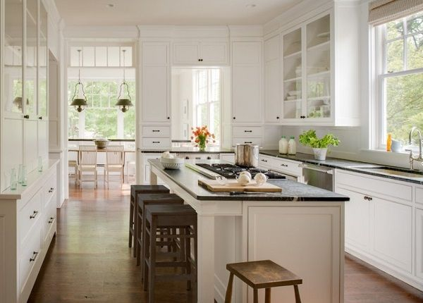 Classical white interior design for kitchen.
