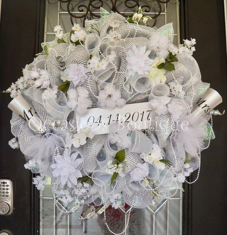 Wedding Wreath, Wedding Decoration, Bridal Shower Decoration, Engagement Party Decor, Door Hanger, Wreath for Bridal Shower, Wedding Gift by OccasionsBoutique on Etsy