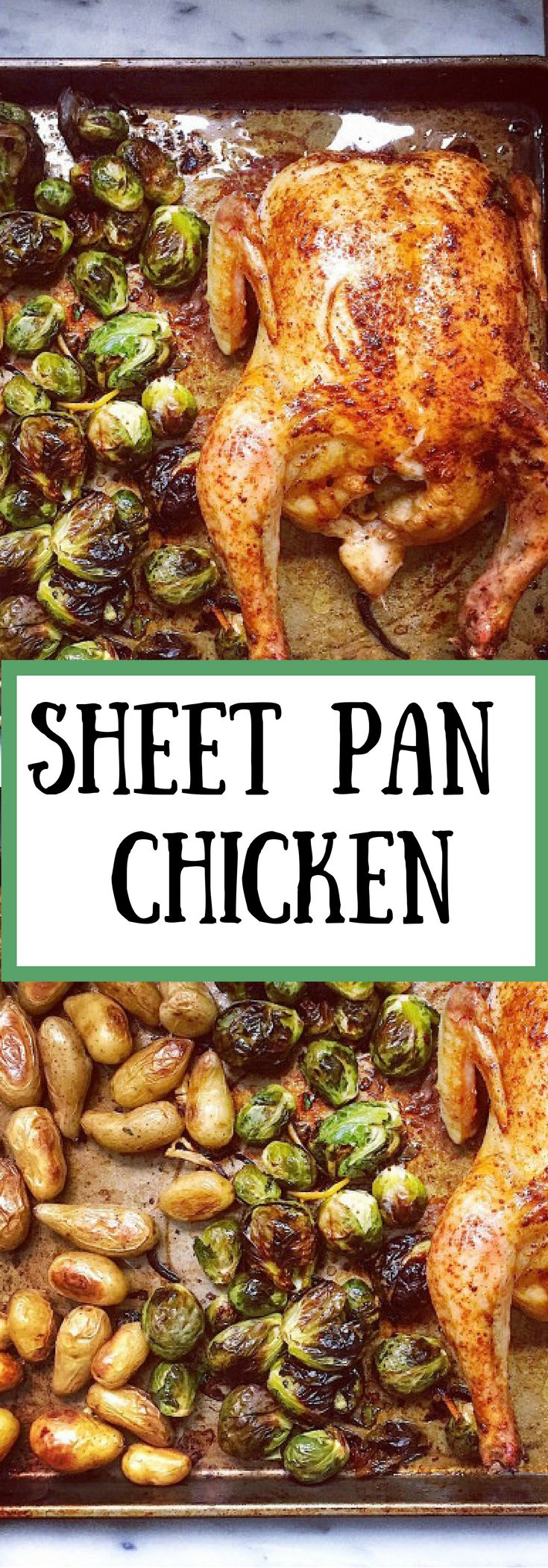 Sheet pan chicken dinner with potatoes and brussels sprouts. So quick to prep and just one pan to clean.