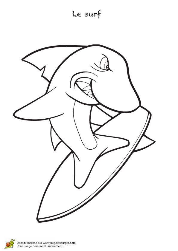 Un requin surfeur à colorier