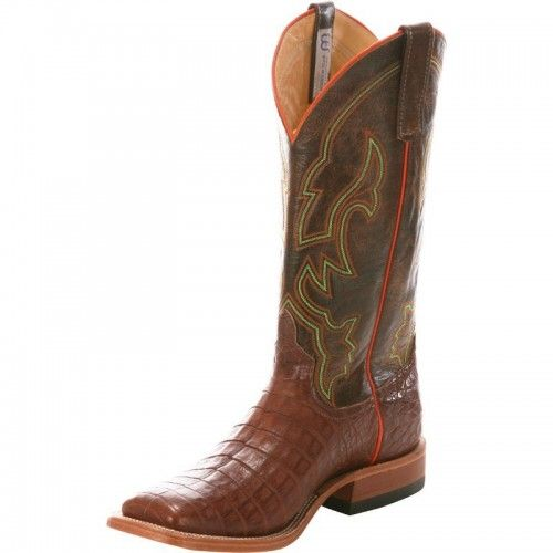 $529.99 Anderson Bean Men�s Cowboy Boots Tobacco Caiman Belly with Brown Raven TopsAnderson Bean style S1110 is an instant classic! The Tobacco Caiman Belly looks great with jeans of any wash and dress slacks. These boots are perfect for dressy occasions, but you can easily wear them to the office or any other occasion that lands across your calendar. You should use an application of leather conditioner...