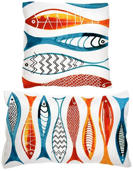 Margaret Berg Art: Simple+Fishies+(Red)+Pillow