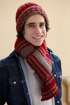 Image of Varsity Stripe Hat And Scarf