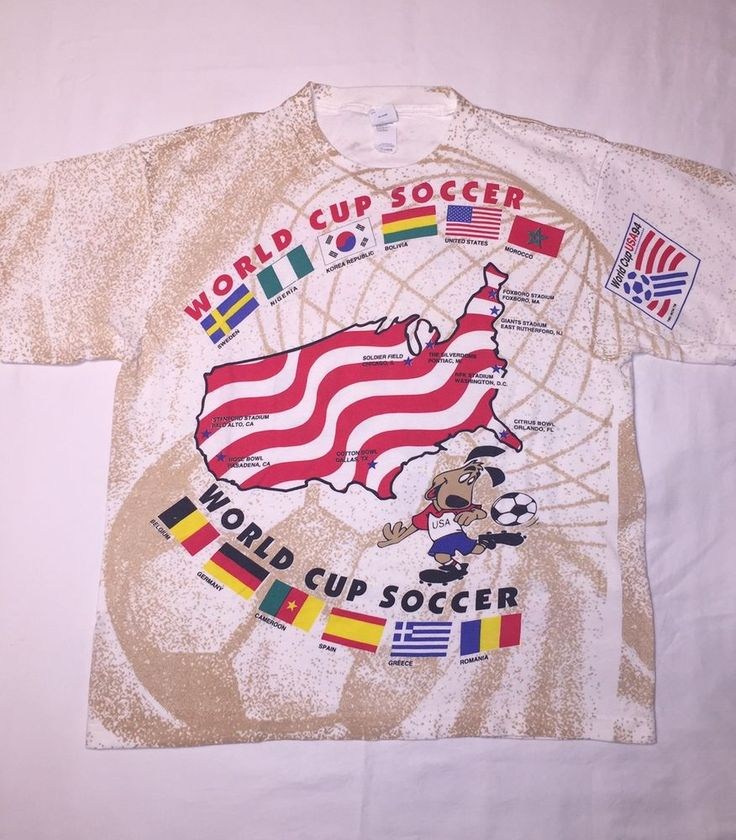 Vintage World Cup USA 94 All Over Print Shirt Men's XL Competitor Soccer FIFA  | eBay
