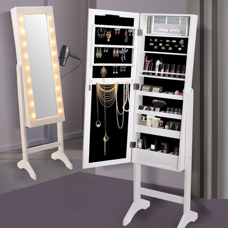 Standing Mirror Jewellery Cabinet w/ 18 LEDs White | Buy Mirror Jewellery Cabinets