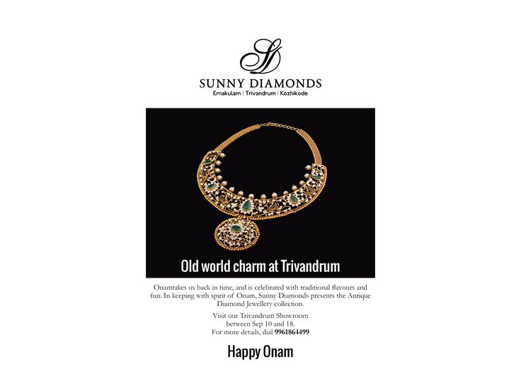 Beauty of the old, presented in new finery. #Antique #jewellery special at our Trivandrum showroom. #Onam #offers #sunnydiamonds #jewellerytrends
