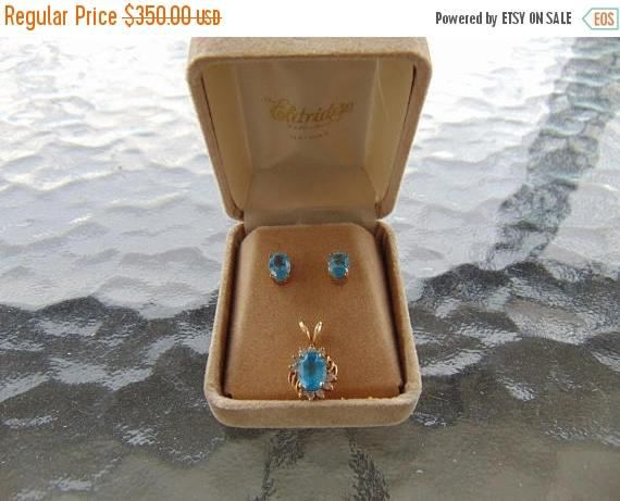 ON SALE Blue Topaz and Diamond Pendant with Matching Earrings