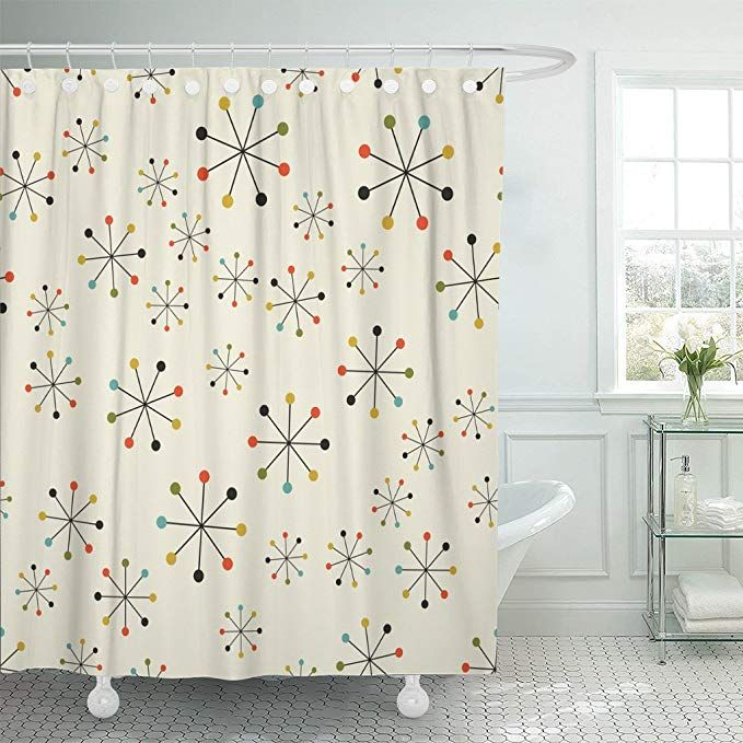 Varyhome Shower Curtain 60s Mid Century Absctract Geometric