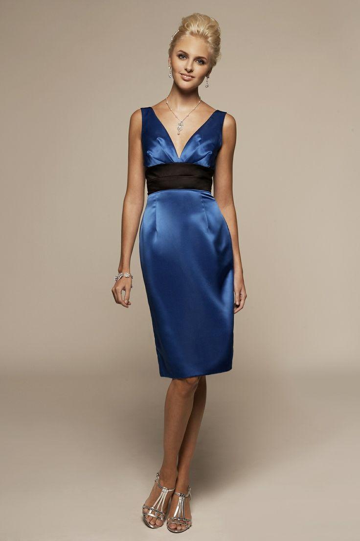 V-neck sheath / column satin bridesmaid dress