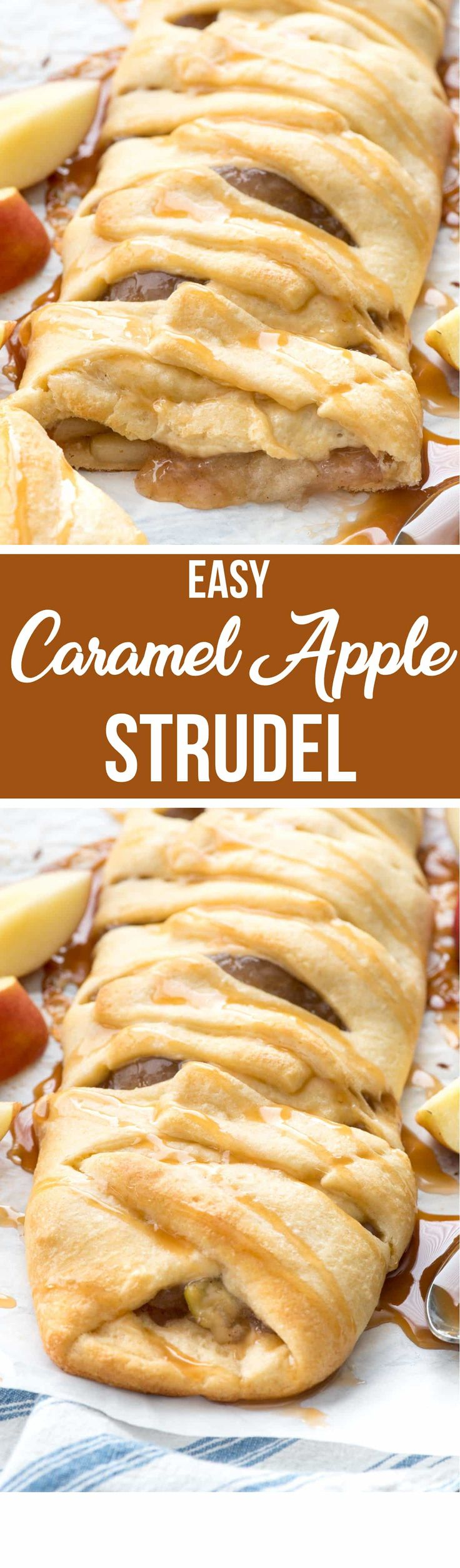 Easy Caramel Apple Strudel - this easy danish braid has just 3 ingredients and is the easiest breakfast or dessert recipe ever! Caramel Apple is the perfect fall flavor, especially in a pastry! via @crazyforcrust