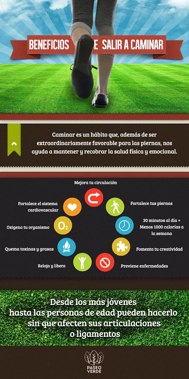 Beneficios de salir a caminar #Beneficios #Infografía #ejercicio #saludable #paseoverde
